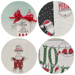 PDF tutorial for 4 different cards using the Santa's Suit Bundle. Stampin' Up!