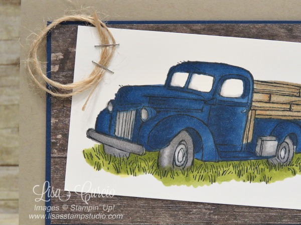 Close up image of a vintage pick up truck in a country field. Coloring therapy! Country Livin' stamp set and Stampin' Blends. Stampin' Up!