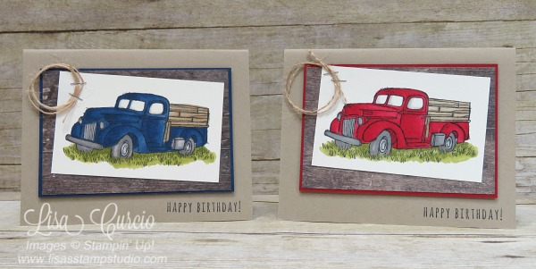 Red and blue vintage pick up trucks line this country field. Which is your favorite? Country Livin' stamp set and Stampin' Blends. Stampin' Up!