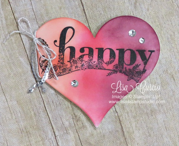 Create a heart-shaped card with this video tutorial. Stampin' Up! Sweet & Sassy Framelits and Happy Wishes stamp set.