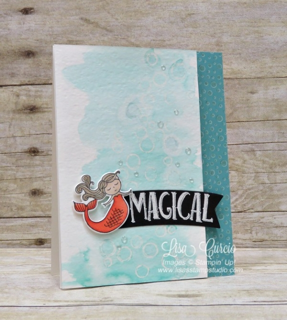 Watercolor washed bubbles let this magical mermaid float along side the greeting. Magical Day by Stampin' Up!