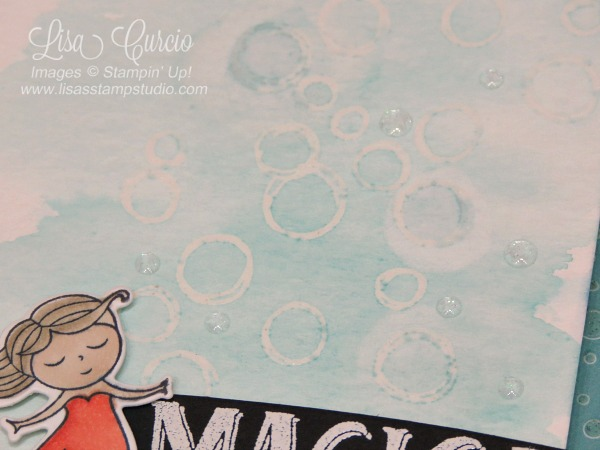 A watercolor wash background provides the perfect tone for these bubbles and floating mermaid. Stampin' Up! Magical Day.