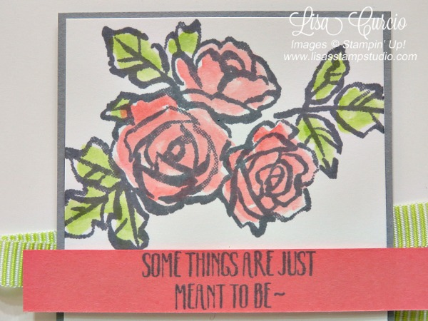 Close up image of beautiful bouquet of watercolor roses across a panel of lime ribbon. Petal Palette by Stampin' Up!