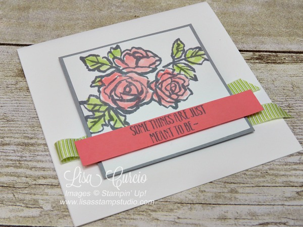 Aerial view of a beautiful bouquet of watercolor roses across a panel of lime ribbon. Petal Palette by Stampin' Up!