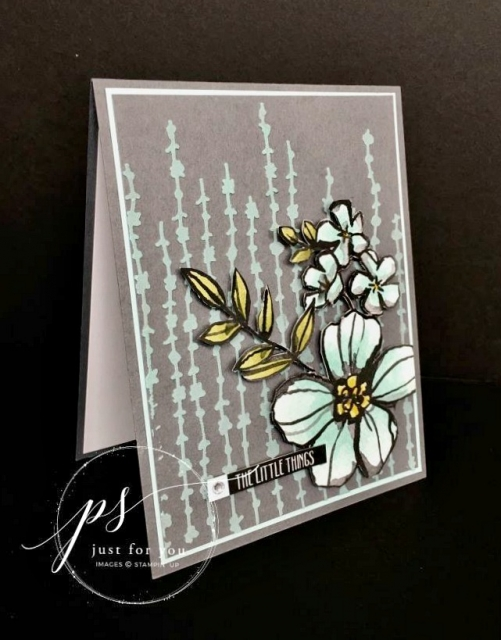 Free tutorial - Petal Passion card uses Memories & More card pack with beautiful shaded floral and vine images. Stampin' Up!