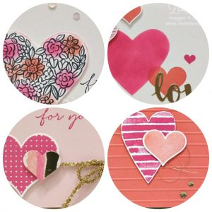Heart Happiness tutorial includes 4 different cards including the use of the Sweet & Sassy Framelits. Stampin' Up! Lisa's Stamp Studio Project PDF Tutorials