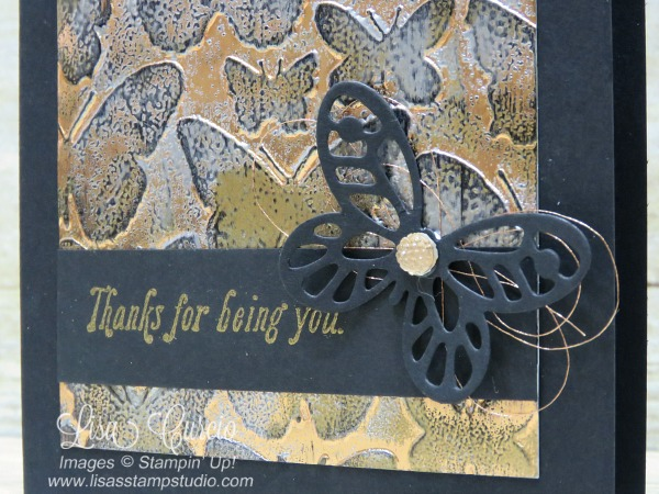 Close up view - Video & pictures for the tarnished foil technique using the Fluttering Embossing Folder & Bold Butterfly Thinlits. Stampin' Up!