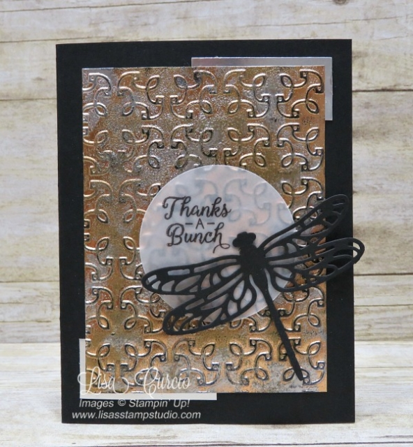 Video & pictures for the tarnished foil technique using Garden Trellis embossing folder & the Detailed Dragonfly Thinlits. Stampin' Up!