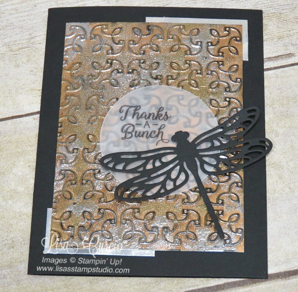 Aerial view - Video & pictures for the tarnished foil technique using Garden Trellis embossing folder & the Detailed Dragonfly Thinlits. Stampin' Up!