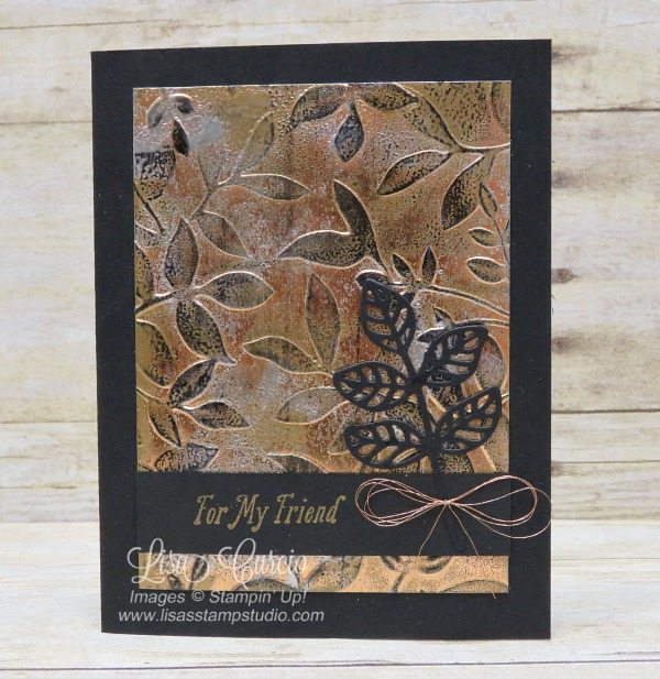 Video & pictures for the tarnished foil technique using Layered Leaves Dynamic Embossing Folder and Flourish Thinlits. Stampin' Up!