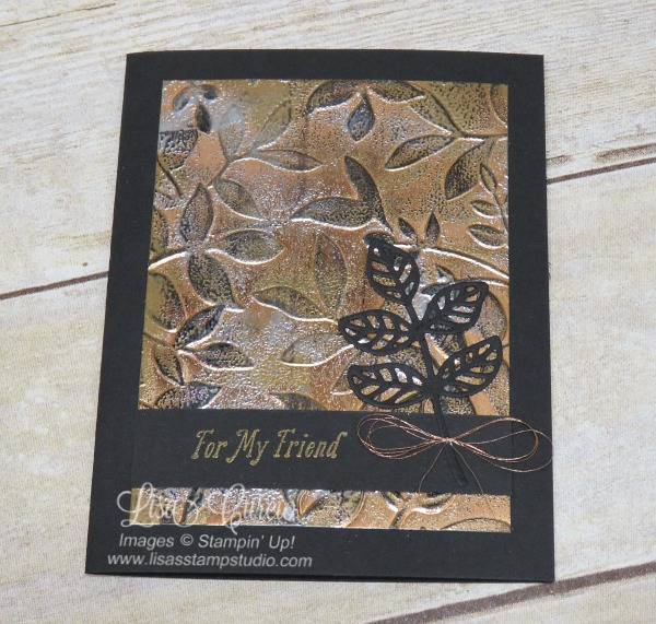 Aerial view - Video & pictures for the tarnished foil technique using Layered Leaves Dynamic Embossing Folder and Flourish Thinlits. Stampin' Up!