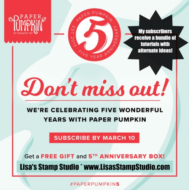 Paper Pumpkin 5 year anniversary special includes a free gift, special box and a bundle of free tutorials exclusively from Lisa's Stamp Studio. Paper Pumpkin Parade