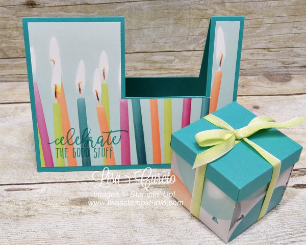 Video tutorial to create this card that holds a small gift box. Picture Perfect Party Designer Paper and Picture Perfect Birthday by Stampin' Up!