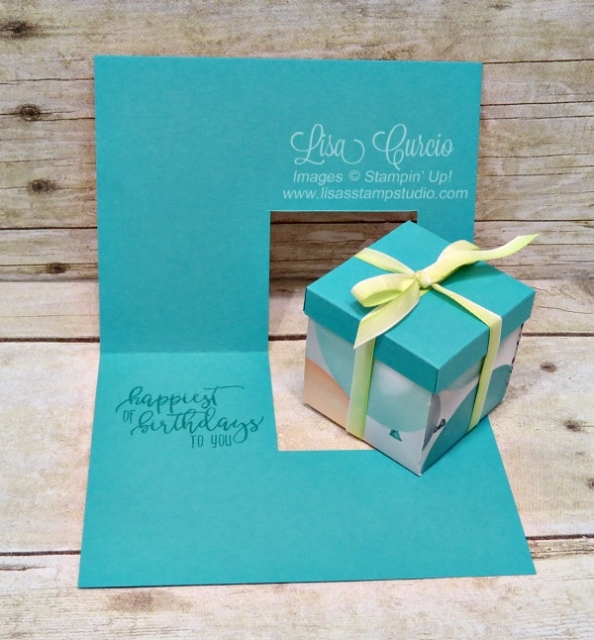 Inside view - Video tutorial to create this card that holds a small gift box. Picture Perfect Party Designer Paper and Picture Perfect Birthday by Stampin' Up!