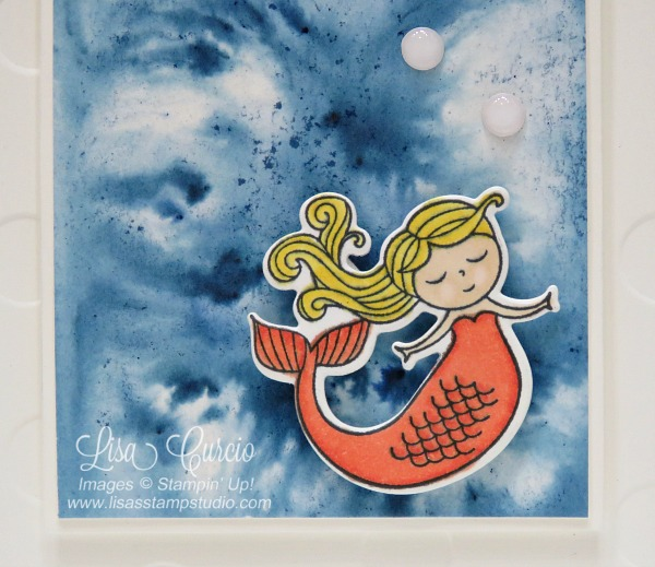Video tutorial! Close up of a beautiful Brusho background with a mermaid using Stampin' Up!'s Magical Day Bundle.