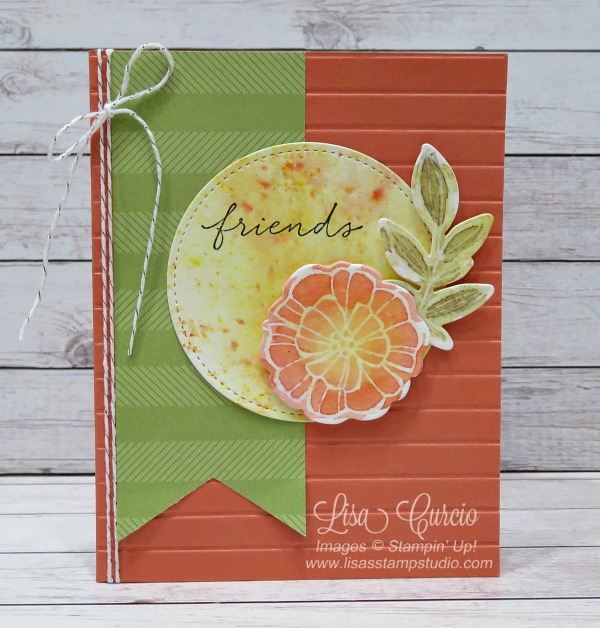 Video tutorial! Cheerful floral that has been colored in using Brusho and a resist technique. Stampin' Up!