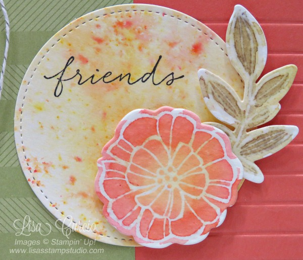 Video tutorial! Close up image of a floral that has been colored in using Brusho and a resist technique. Stampin' Up!
