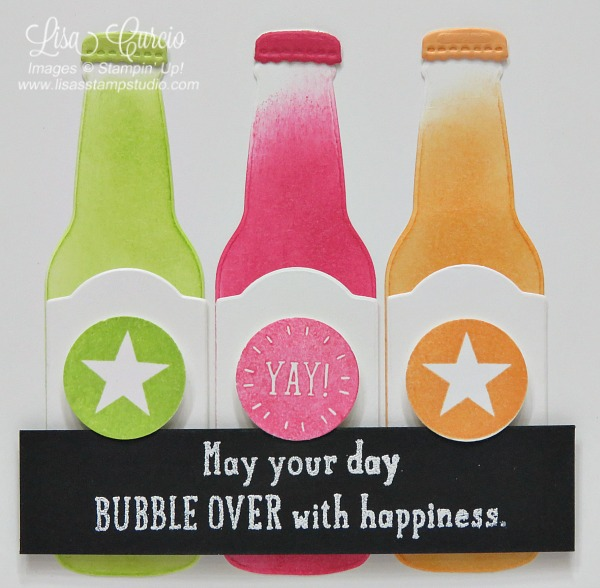 Close up view of three brightly colored soda bottles are offset with black greeting. Stampin' Up! Bubble Over.
