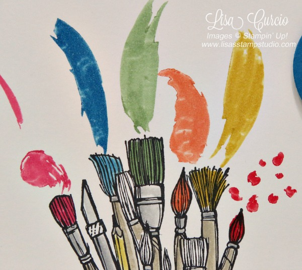 Close up view of a bundle of paint brushes ready to apply color. Stampin' Up! Crafting Forever