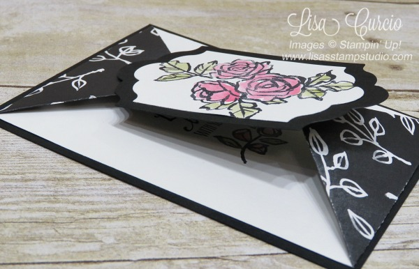 Video tutorial. Side view of the double point fold card using the Petal Palette stamp set. Stampin' Up!