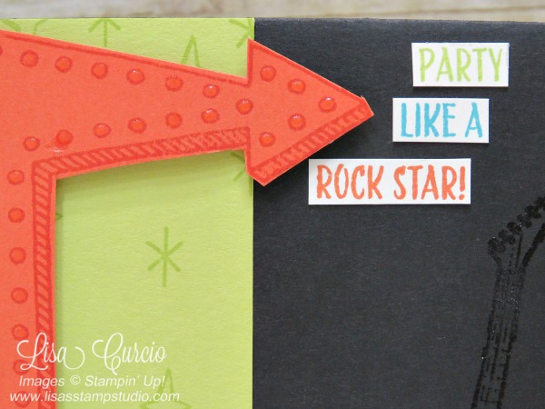This retro arrow points to partying like a rock star featuring a neon bright card and a stylish guitar. Epic Celebration and Marquee Messages by Stampin' Up!