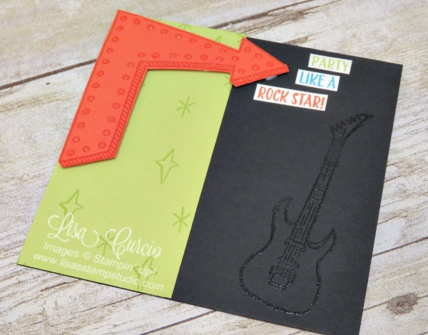 This aerial view of a neon birthday card features a stylish guitar and bold arrow complete with a bulb like technique. Epic Celebration and Marquee Messages by Stampin' Up!