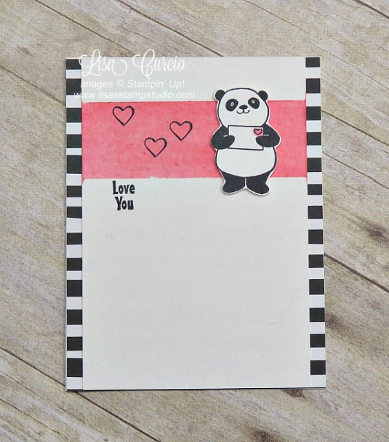 This little panda is holding an envelope and has a watercolored background with hearts with a love you theme. Stampin' Up!'s Party Panda. Sale-A-Bration