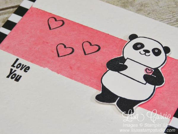 Angled view of a panda holding an envelope with a heart. Watercolored background technique. Stampin' Up!'s Party Panda. Sale-A-Bration