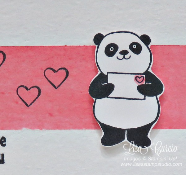 Close up of a panda holding an envelope with a heart. Watercolored background technique. Stampin' Up!'s Party Panda. Sale-A-Bration