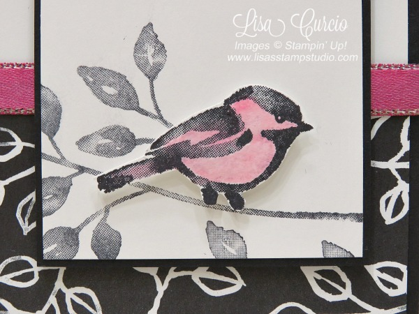 Video tutorial! Close up image of a sketched bird with a vintage designer paper in black and white perfectly highlighted with rhinestones and metallic edge ribbon provide perfect accents. Stampin' Up! Petal Palette.