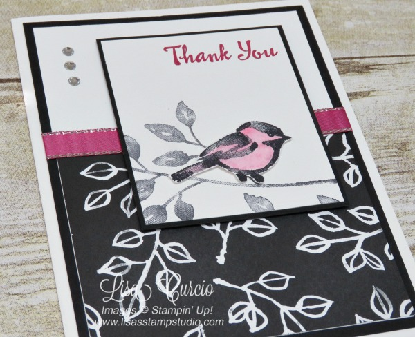 Video tutorial! Aerial view of a sketched bird with a vintage designer paper in black and white perfectly highlighted with rhinestones and metallic edge ribbon provide perfect accents. Stampin' Up! Petal Palette.