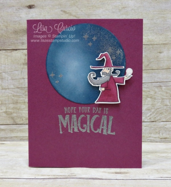 Video tutorial! Create a magical day - and a magical card with this wizard. This sponged moon is amazingly detailed with flecks of silver and stars. Stampin' Up!'s Magical Day Bundle.