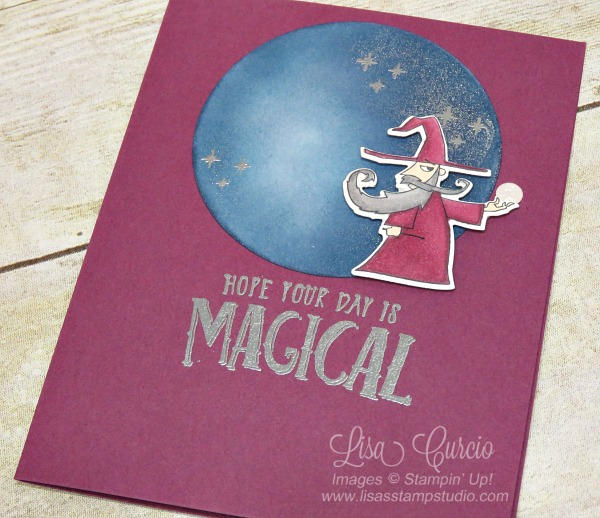 Video tutorial! Aerial view of a wizard against a sponged moon is amazingly detailed with flecks of silver and stars. Stampin' Up!'s Magical Day Bundle.