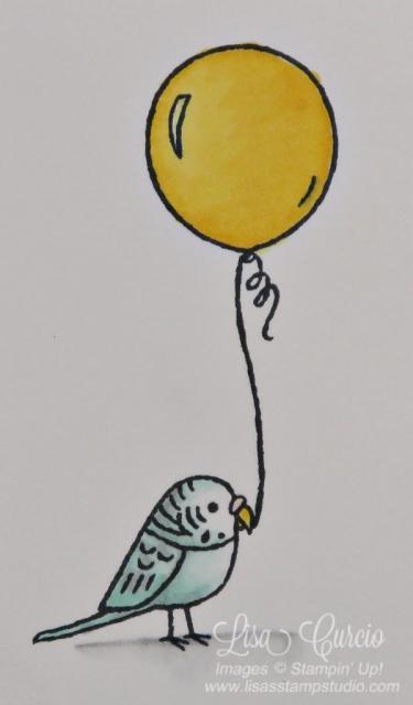Bird Banter Birthday Card close up image of a parakeet holding a balloon. Stampin' Up!