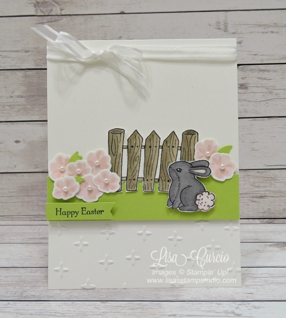 This garden scene features beautiful pink flowers along a fence line with a bunny for this Easter card. Garden Girl Stampin' Up!