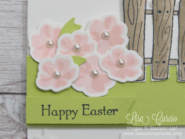 The spring garden is blooming with pink flowers for this Easter card. Garden Girl Stampin' Up!