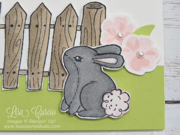 This bunny is ready for spring and Easter. Garden Girl Stampin' Up!