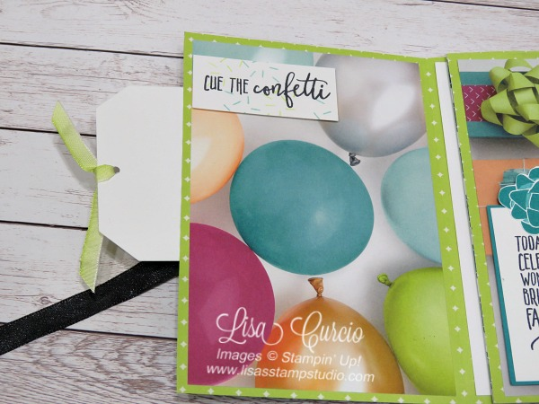 Video tutorial - pocket view of a tri-fold pocket card can be used as a greeting card or as a mini scrapbook or memory album. Stampin' Up! Picture Perfect Birthday. Spotlight with Lisa
