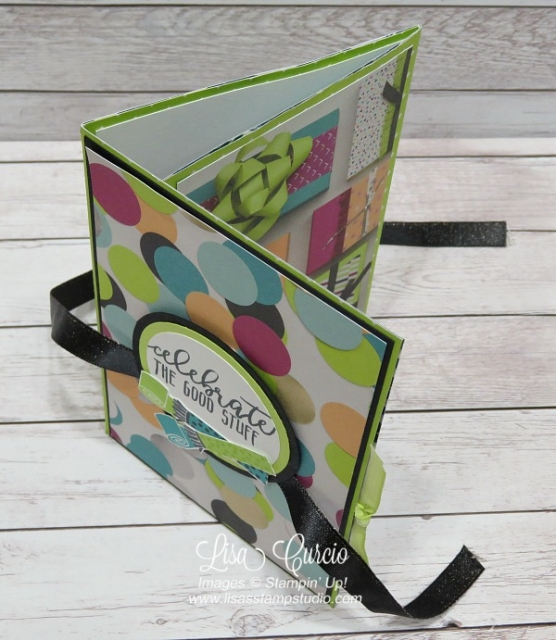 Video tutorial - tri-fold pocket card can be used as a greeting card or as a mini scrapbook or memory album. Stampin' Up! Picture Perfect Birthday. Spotlight with Lisa