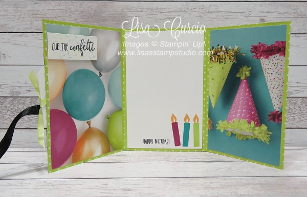 Video tutorial - inside/open view of a tri-fold pocket card can be used as a greeting card or as a mini scrapbook or memory album. Stampin' Up! Picture Perfect Birthday. Spotlight with Lisa