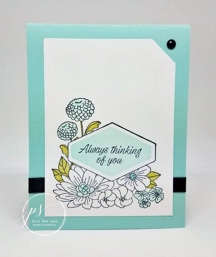 Free tutorial - Accented Blooms by Stampin' Up!. Beautiful florals border an interesting framed greeting.