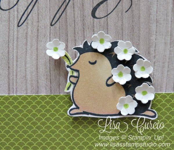 This adorable hedgehog is covered in small flowers borders on a strip of lime green designer paper. Hedgehugs by Stampin' Up! Close up view.