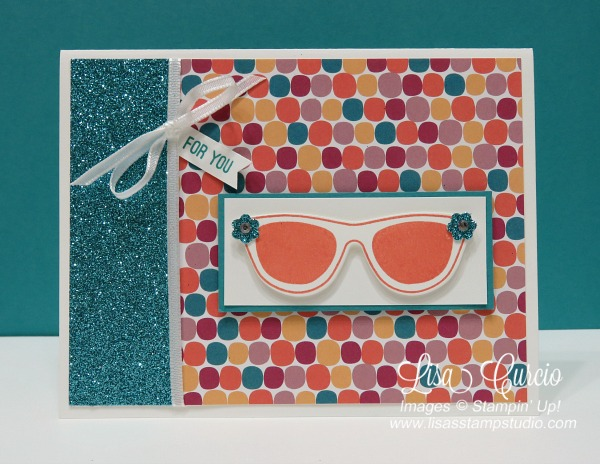 These sunglasses boast flowers and rhinestones on a colorful background of designer paper and glimmer paper. Pocketful of Sunshine from Stampin' Up!