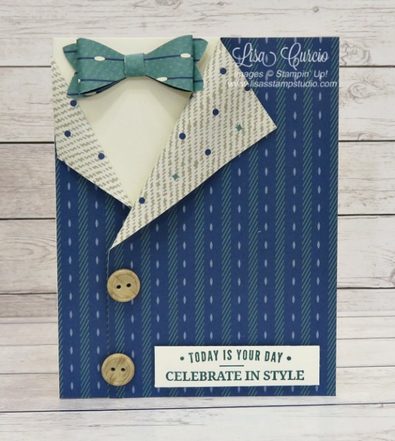Truly Tailored Collared Shirt Card using the True Gentlemen designer paper, buttons and Bow Builder Punch. Lisa's Stamp Studio