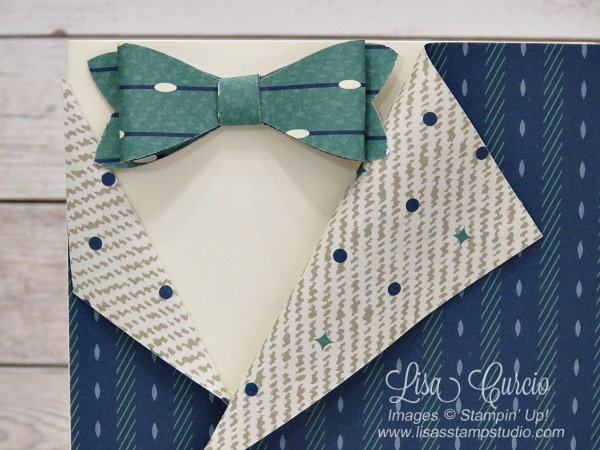 Truly Tailored Collared Shirt Card using the True Gentlemen designer paper, buttons and Bow Builder Punch. Lisa's Stamp Studio. Close up of tie and collar.
