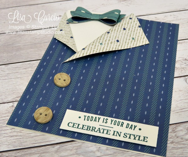 Truly Tailored Collared Shirt Card using the True Gentlemen designer paper, buttons and Bow Builder Punch. Lisa's Stamp Studio. Aerial view.