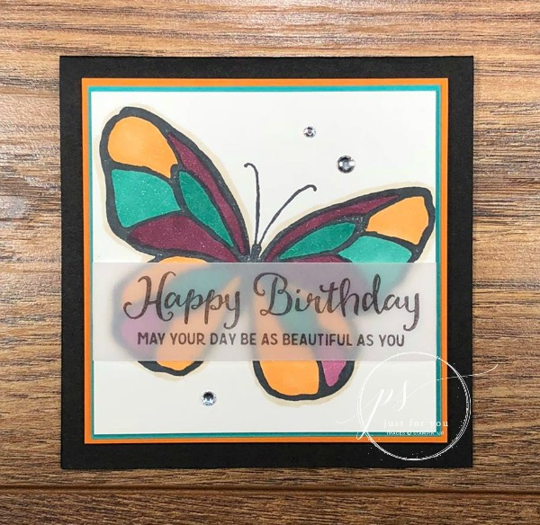 Free tutorial! Stampin' Up!'s Beautiful Day Butterfly card with a vellum greeting overlay.