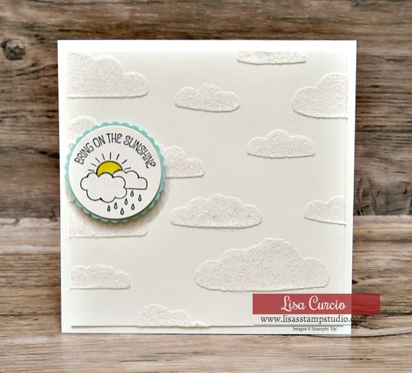 Shimmery white embossing paste clouds with a simple greeting give this 4x4 card a sparkling impression. Stampin' Up! A Good Day.