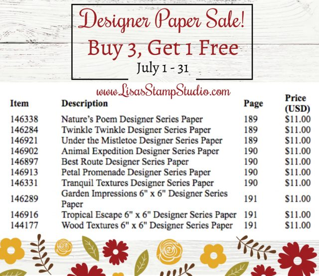 Designer Paper Sale July 2018 Stampin' Up!