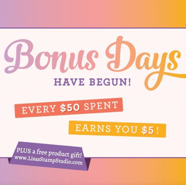 Spend $50 in product during August and get a $5 coupon code to use in September PLUS a free gift from a list - exclusively from Lisa's Stamp Studio